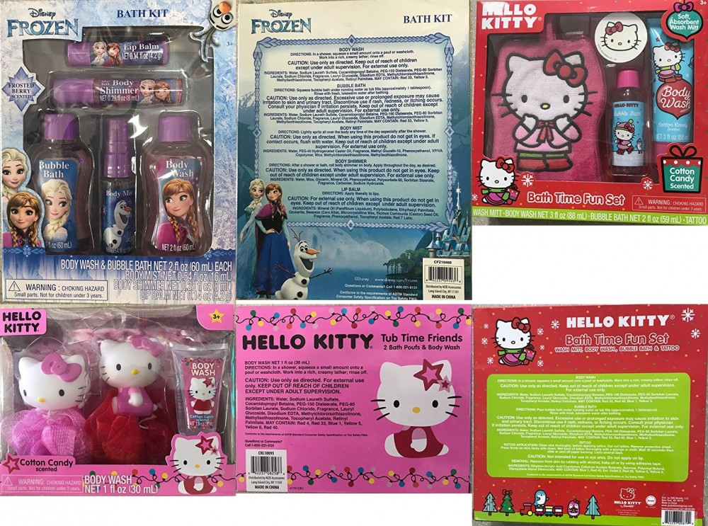 d48adaaf1 Hello Kitty or Disney Frozen Body Wash Bath Time Fun Christmas Gift Set for  Baby Girls