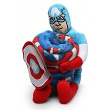 Avengers Combo Blanket + Large Plush Captain America for Boys 2 to 10 years