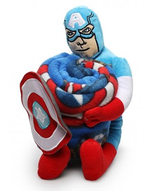 Avengers Combo Blanket + Large Plush Captain America for Boys 2 to 10 years