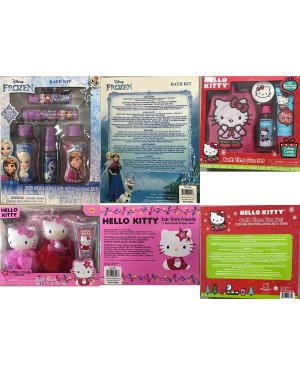 Hello Kitty or Disney Frozen Body Wash Bath Time Fun Christmas Gift Set for Baby Girls (3+ Years)
