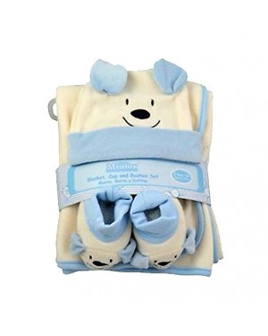 Little Mimos 3 Pcs Baby Set Blanket, Cap and Booties For Boys or For Girls, Polar Fleece 100% polyester