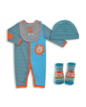4-PIECES BABY COVERALL SET-KING OF MY FAMILY 0-9 MONTHS