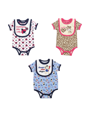 BODYSUIT AND BIB SET BLUE, WHITE OR PINK (0-9 MONTHS)